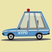 Funny cartoon nypd police car — Stock Vector
