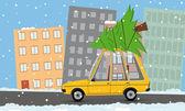 Funny cartoon car with christmas tree — Vettoriale Stock