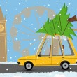Cartoon car with a christmas tree in london — Vettoriali Stock