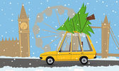 Cartoon car with a christmas tree in london — Stock Vector