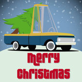 Christmas card with cartoon pickup truck — Stock Vector