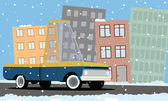 Cartoon pickup truck in the city — Vecteur