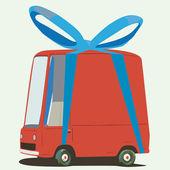 Desenho animado minivan wraped como um presente — Vetorial Stock