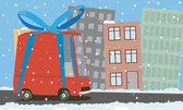 Van de dibujos animados de la ciudad — Vector de stock