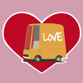 Valentines Day card with a cartoon car — Stock Vector
