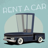 Old fashioned comics style rent a car poster — Stock Vector