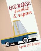 Retro car service sign — Stok Vektör