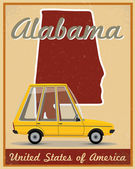 Alabama road trip vintage poster — Stock Vector
