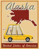Alaska road trip vintage poster — Vettoriale Stock