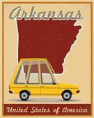 Arkansas road trip vintage poster — Stock Vector