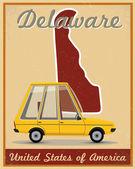Delaware road trip vintage poster — 图库矢量图片
