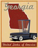 Georgia road trip vintage poster — Stock Vector
