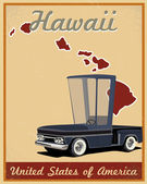 Hawaii road trip vintage poster — Stock Vector
