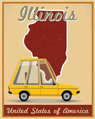 Illinois road trip vintage poster — ストックベクタ