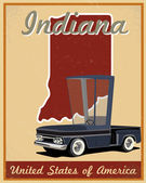 Indiana road trip vintage poster — Stock Vector