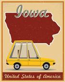 Iowa road trip vintage poster — Stock Vector