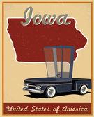 Iowa road trip vintage poster — Stockvektor