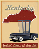 Kentucky road trip vintage poster — Stock Vector