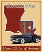 Louisiana road trip vintage poster — Stockvektor