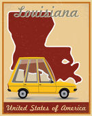 Louisiana road trip vintage poster — Stock Vector