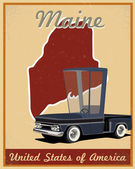 Maine road trip vintage poster — Vetorial Stock