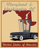 Maryland and Washington dc road trip vintage poster — Stock Vector