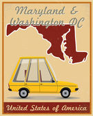 Maryland and Washington dc road trip vintage poster — Stock vektor