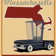 Massachusetts road trip vintage poster — Stock Vector