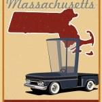 Massachusetts road trip vintage poster — Stock Vector