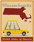 Massachusetts road trip vintage poster — Stockvektor
