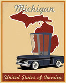 Michigan road trip vintage poster — Stock Vector