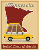 Minnesota road trip vintage poster — Stockvector