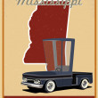 Mississippi road trip vintage poster — Wektor stockowy  #39606175
