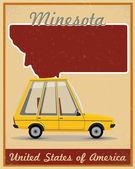 Minesota road trip vintage poster — Stock Vector