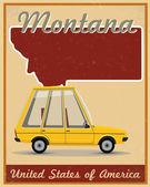 Montana road trip vintage poster — Vector de stock