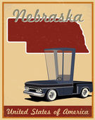 Nebraska road trip vintage poster — Stock Vector