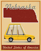 Nebraska road trip vintage poster — Vector de stock