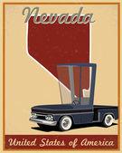 Nevada road trip vintage poster — Stock Vector