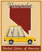 Nevada road trip vintage poster — Stock Vector