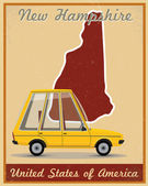 New Hampshire road trip vintage poster — Stock Vector