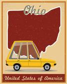 Ohio road trip vintage poster — Stock Vector