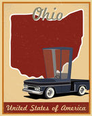 Ohio road trip vintage poster — Stock Vector