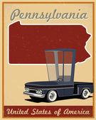 Poster vintage da Pensilvânia estrada viagem — Vetor de Stock