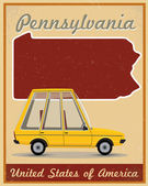 Pennsylvania road trip vintage poster — Stock Vector