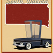 Stock Vector: South Dakotroad trip vintage poster