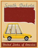 South Dakota road trip vintage poster — Stock Vector