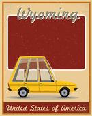 Wyoming road trip vintage poster — Stock Vector