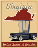 Virginia road trip vintage poster — Stock Vector