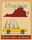Virginia road trip vintage poster — Vector de stock