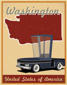 Washington road trip vintage poster — Stock Vector